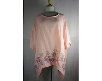 Drop Side Tunic Top - Blush Pink Hanky Linen 4X by Blue Fish Red Moon ClothingReady to Ship
