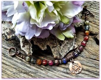 Custom Rainbow Bridge bracelet, Rainbow Bridge stamped jewelry, Rainbow Bridge cat, Rainbow Bridge dog, pet tribute jewelry, pet sympathy