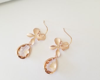 ROSE GOLD earrings, Orchid Flower earrings, Champagne earrings, Peach earrings, Bridesmaids Gift, bridal party gift