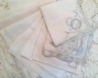 Vintage White Handkerchief Collection - Hand Emroidery Linen - Set of 9 - Weddings - Napkins - Hankies