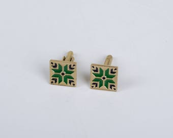 Ukrainian Design Vintage Style Cuff Links Brass Black/Green Enamel Traditional Men Jewelry Father's Day Gift Present for Man Wedding Gift