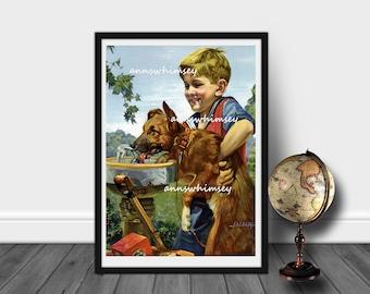 Boy's Room Art, Family Room Art, Boy's Room Art Print, Boy Dog Art  Office Art,Home Decor, EVERYONE Needs Water #424