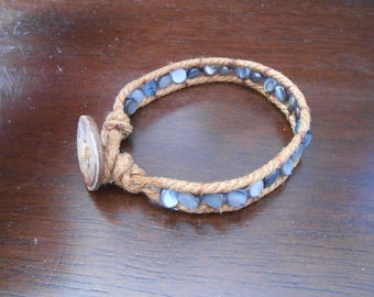 Shell and Cotton Ladder Bracelet