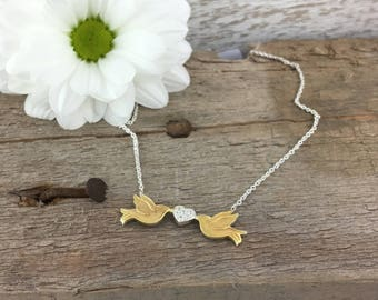 Love Birds Necklace Set With Stones. Solid Sterling Silver Plated With 18ct Yellow Gold. Dainty Choker