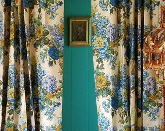 """Vintage Bark Cloth Curtains, English Garden in Blue and Ivory, 29""""w. at pinch pleat top x 44""""w. at bottom x 85""""l."""