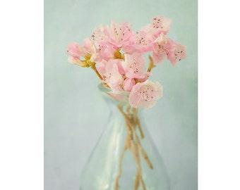 Still Life Print, Flower Wall Art, Floral Art Print,  Pink Mint Decor, Flower Photography, Bedroom Decor