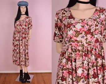 90s Floral Print Flowy Dress/ Medium/ 1990s