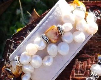 Ocean Energy Bracelet - Blistered Pearl Shells x Freshwater Pearls