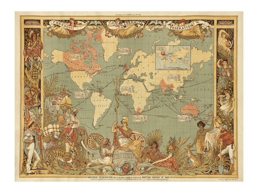 British Imperial Federation Map of the World Old Maps and