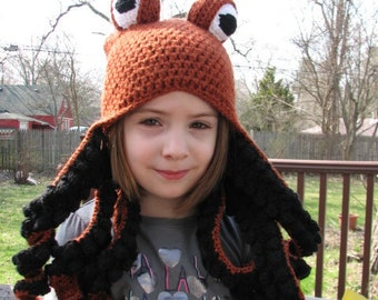 Rust and black octopus hat