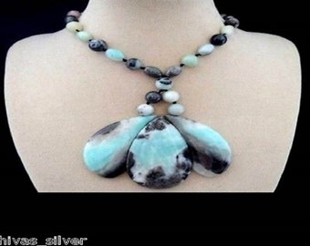 Amazonite, beads, necklace, necklace, necklace, silver plated clasp