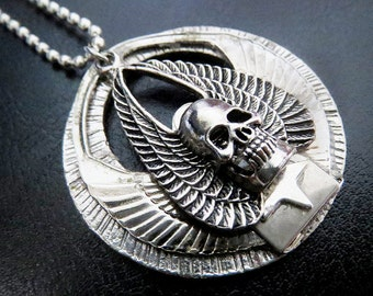 Handmade Gothic Skull with Wings Medallion Pendant Necklace