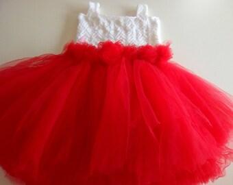 Knit dress 4t birthday Christmas red tulle skirt tutu