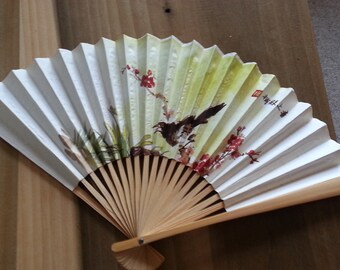 SALE Vintage Paper And Bamboo Fan Black Bird and Red Blossoms Asian Characters 1960s
