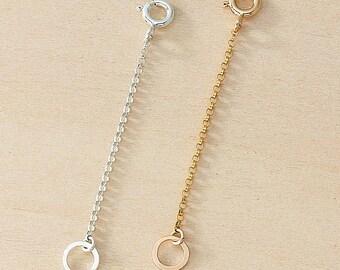 Rose Gold Extender Sterling Extender Necklace Extender Dainty Chain Necklace Lengthener Make Necklace Longer Hammered Hoops Chain Extender