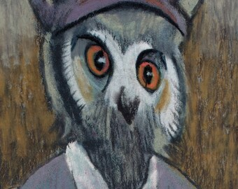 original art  aceo drawing barn owl portrait anthropomorphic animal in clothes
