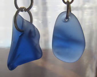 Sea Glass Cobalt Blue Earrings