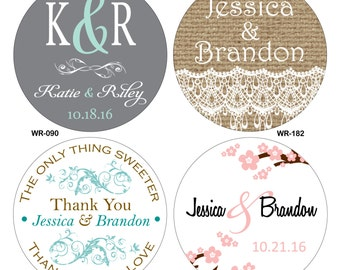 210 - 1.5 inch Custom Glossy Waterproof Wedding Stickers Labels - hundreds of designs to choose - change designs to any color or wording