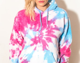 Candy Floss Tie Dye Hoodie Ladies - Fashion Unisex Fitted Bleach Effect Festival Music