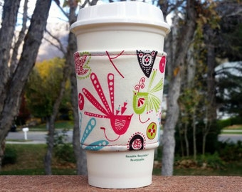 FREE SHIPPING UPGRADE with minimum -  Fabric coffee cozy / coffee sleeve / coffee cup holder / cup sleeve -- Mod Bright Birds