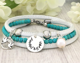 Gemstone bracelet - Yoga jewelry - Gemstone bracelet yoga - Leather bracelet for women - Gemstone bracelet delicate - Yoga bracelet