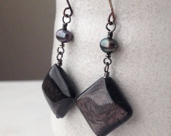 Hypersthene Raven's Wing Pearl Cultured Freshwater Black Sterling Silver Earrings Drop Dangle Black Gray Stone Oxidized Silver Gift Wrap
