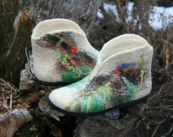 Felted wool slipper boots - organic wool felt boots - boiled wool shoes - valenki - women slippers - house shoes