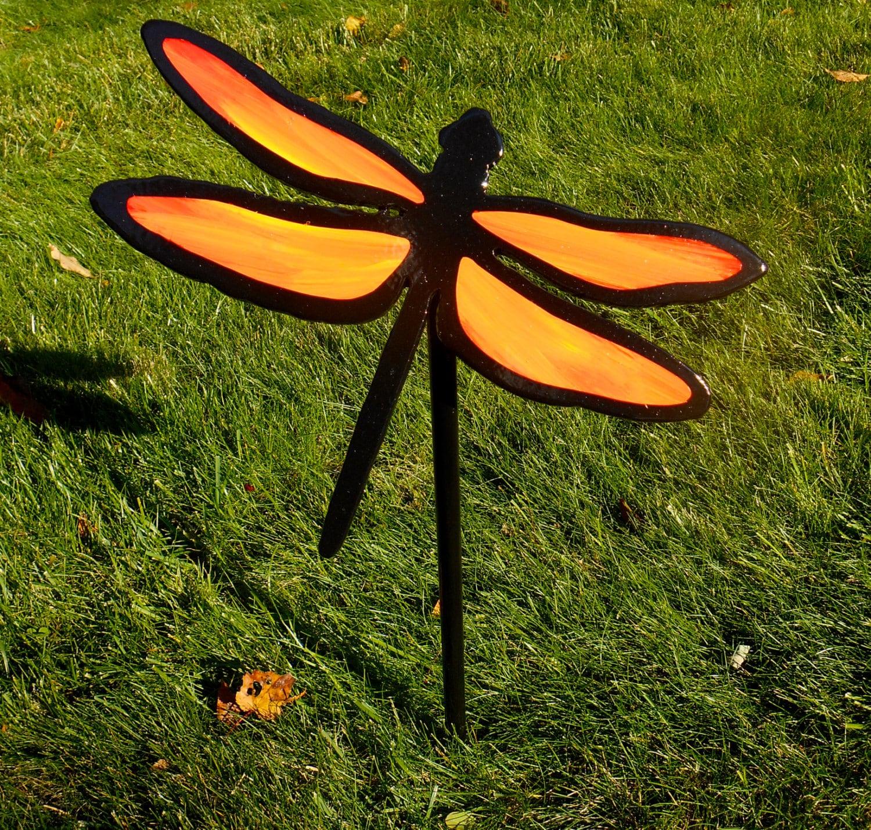 Metal Dragonfly Lawn and Garden Stake Orange Dragonfly Garden