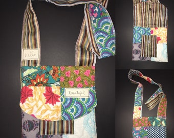 Crossbody upcycled bag/purse - eco friendly - quilted - artsy - boho - wearable art - recycled - repurposed
