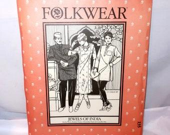 Vintage FOLKWEAR JEWELS Of INDIA Sewing Pattern #135 Men & Womens Sizes Kurta Shirt, Kamiz Tunic, Churidar Pants, Gandhi Hat Long Short Gift