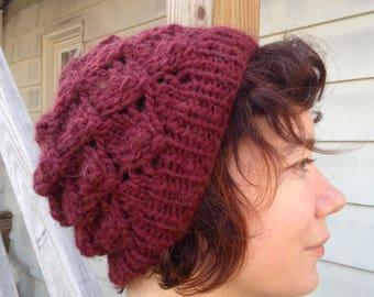 Supersoft Hand-Knit Cranberry Foliage Hat