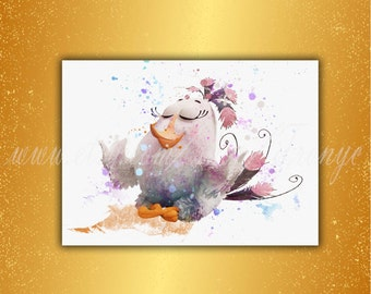 """Angry Birds, Matilda, Poster, Watercolor, """"White Bird"""" in angry birds, movie Angry Birds, Matilda Print, art, wall decor, birthday gift, T46"""