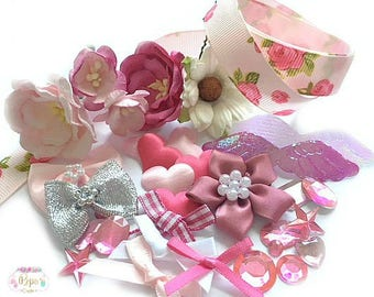 Gorgeous Craft Embellishment Pack Mixed Pinks  - Card Making Scrapbooking Flowers Ribbons Bows