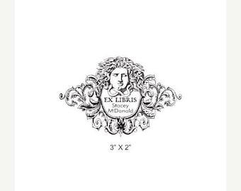 Mothers Day Sale Medusa with Art Nouveau Floral Border Personalized Ex Libris Rubber Stamp L19