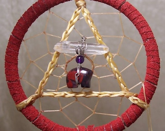 SERENITY BEAR - 3 Inch Dreamcatcher in Red and Purple by Feathered Dreams