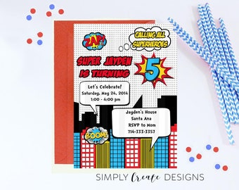 SALE Superhero Invitation Superhero Invite Printable Digital 5x7 Inches