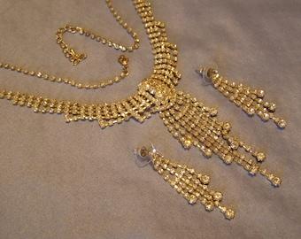 Rhinestone Waterfall Necklace w Pierced Earring set w gold Finish - vintage Bride WEDDING Jewelry, stunning Hollywood Pageant, RUNWAY Glam