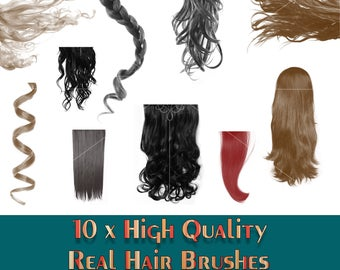 Buy 3 get one free. 10 x Real Hair Brushes, ABR Files, Photoshop Brushes, High Resolution, Instant Download.