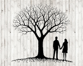 Tree silhouette svg, couple under tree svg, family tree svg, wedding svg, anniversary svg, wedding svg, married couple svg, cut files, dxf
