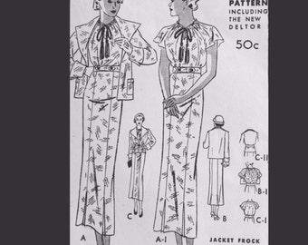 Vintage 30s Flutter Sleeve Shirtwaist Dress Suit Sewing Pattern  B38
