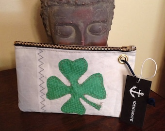 Recycled Sailcloth Shamrock Wristlet