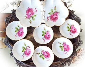 1928 - 1945 Silesia Porcelain Dessert Set Tillowitz Silesia China Pastry Set Floral Serving Set Antique Serving Dish