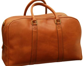 Leather Travel Bag in Gold made of Genuine Italian Leather - Leather Bag - Laptop Bag - Leather Briefcase - Mens Gift