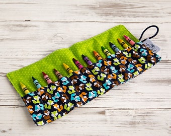 Crayon roll, Blue Foxes, Crayon holder, Pencil roll, Gift for girls, Gift for boys, Birthday party favours, Back to school, Art, Colouring