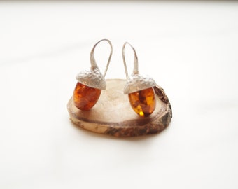 silver acorn earrings with vintage amber
