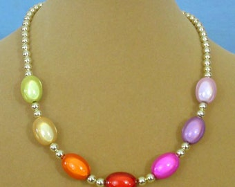"""17"""" Necklace of glowing, vibrant colors! - N613"""
