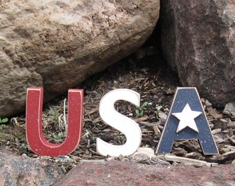 USA BLOCKS for July 4th, Independece day, shelf, desk and Americana home decor