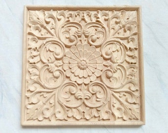 Square applique, furniture applique, furniture embellishment, wood onlay, square onlay, wood embellishment, wood carving
