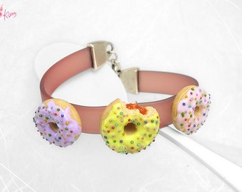Pastel Donuts Bracelet, Doughnut Jewelry, Miniature Food Jewelry, Colorful Donut Bracelet, Polymer Clay Food Bracelet, Donut Jewelry