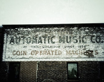 Eclectic Wall Decor, Media Room Decor, Ghost Signs Art, Retro Billboard Sign, Music Company Sign, Chattanooga Photography